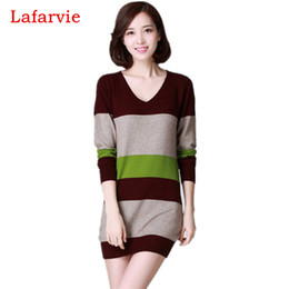 Wholesale Country Standards - Wholesale-Hot Sale Quality Cashmere Full sleeve V-neck Splicing Slim Knit Winter Pullover Long Sweater Women Some Countries Free Shipping