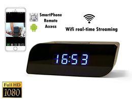 Wholesale Spy Clock 32gb - 32GB P2P Wifi Pinhole Hidden Alarm Clock Camera 1080P Mini Clock Spy Camera Security & Surveillance Cameras Mini Camcorder Video Recorder