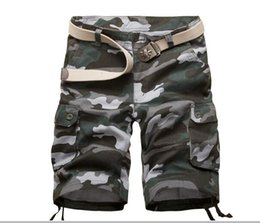 Wholesale beach cargo pants - Wholesale free shipping Fashion Plaid Beach Shorts Mens Casual Camo Camouflage Shorts Military Short Pants Male Cargo Overalls