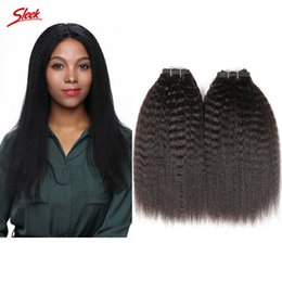 Wholesale Human Hair Extensions Brand - Sleek Brand Unprocessed Brazilian Kinky Straight Hair Weft Human Hair Peruvian Indian Malaysian Hair Extensions Thick Double Weaves