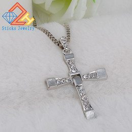 Wholesale White Gold Diamond Cross Pendant - Jesus Cross Pendant & Necklace Women Men Christmas Gifts Wholesale Trendy White k Color Christian Jewelry