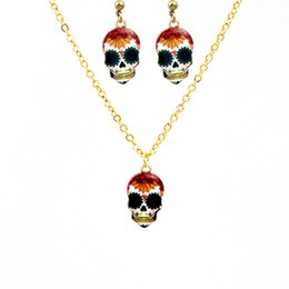 Wholesale Exaggerated Jewellery - Mixed Design Skull Jewelry Sets For Women Hiphop Punk Night Club Necklace Earrings Halloween Gift Exaggerated Enamel Skeleton Jewellery