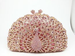 Wholesale Evening Peacock Clutch Handbags - Wholesale-13Color Metal Minaudiere Pink Crystal Peacock Clutches Handbags Ladies Evening Party Clutch Rhinestone Wedding Bridal Bags Purse