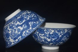 Wholesale Porcelain Dancing - 2PCS CHINESE JINGDEZHEN BLUE AND WHITE PORCELAIN HANDMADE PAINTED DRAGON BOWL