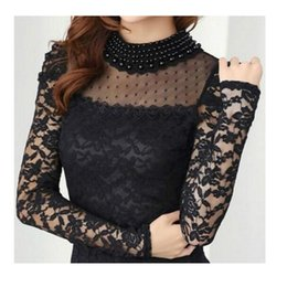 Wholesale Sexy Pearl Blouse - Plus size New fashion Women's Shirts Spring Stand Pearl Collar Lace Crochet Blouse Shirts long sleeve sexy tops Black White