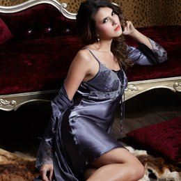 Wholesale long satin nightgowns women - Wholesale- XIFENNI Brand Women Robe Sets Sexy Satin Silk Bathrobe Long-Sleeve Embroidery Lace Sleepwear Dark Grey Two-Piece Nightgowns 9223