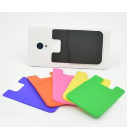 sacchetto di silicone di alta qualità Sconti Nuovi 1 pezzi / lotto Forte carta adesiva Titolari della carta di identità tasca Dimensione universale di alta qualità in silicone Smart Phone Pouch Stationery