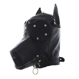 Wholesale Halloween Leather Costume - Masquerade Masks Leather Gimp Dog Puppy Hood Full Mask Mouth Gag Costume Party Mask Zipped Muzzel