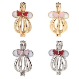 Wholesale Open Locket Pendant - Fashion Bracelet Necklaces DIY hand made Minnie Mouse Shaped Locket Ball Cage Pendant Mountings Can Open Charms DIY Jewelry
