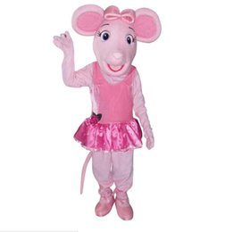 Wholesale Princess Mascot Costumes - OISK Princess Angelina Ballerina Pig mascot costumes adult cartoon character halloween Christmas fancy dress costumes free shippig