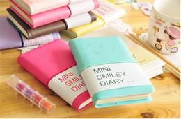 Negocios y estudiantes Cuaderno de cuero lindo y colorido Mini Smile 7.5 * .12.5 CM 192 Hojas Wire Bound 90g / pc Diario de moda desde fabricantes
