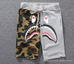 Wholesale Drawstring Fleece Shorts - amouflage shark mouth print casual pants men and women couples shorts pants