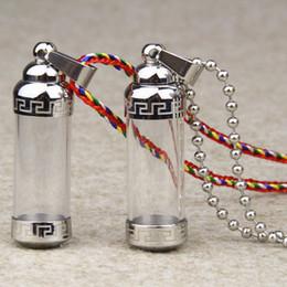 Wholesale Perfume Storage - New Fashion Stainless Titanium Steel Storage Bottle Perfume Bottles Necklace Glass Cylinder Tube Ashes Urn stupa Cremation Keepsake Jewelry