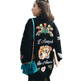 Wholesale Tiger Knit Sweater - Wholesale- winter Fashion women Long sweater cardigan autumn 2017 female casual cardigan women sweater embroidered flowers tiger SUN55