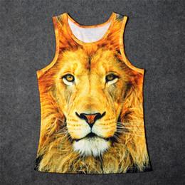 Wholesale Tank Top Undershirts Women - Wholesale- Hot Wildlife Face Eyes Lion 3D Print Tank Tops Kids Men Women Undershirt teen Cotton Tee Loose Unisex Garment