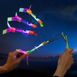 Wholesale Helicopter Child - Novelty Children Toys Amazing LED Flying Arrow Helicopter for Sports Funny Slingshot birthday party supplies Kids' Gift OTH058