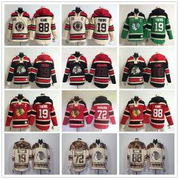 Wholesale Skull Wine - Chicago Blackhawks Hoodies #19 Jonathan Toews #88 Patrick Kane #72 Artemi Panarin Ice Hockey Hoody Sweatshirts Red Cream Black Skull Green