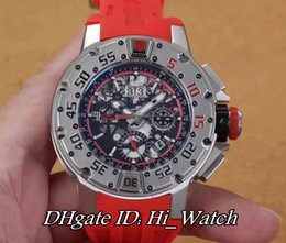 Wholesale Skeleton Limited Edition - Super Clone Luxury Brand New 50mm Dark Diver Big Date 18K White Gold Bezel Skeleton Back Miyota 82S7 Automatic Mens Watch Red Rubber Watches