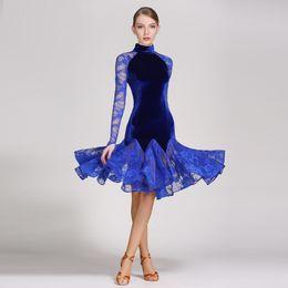 Canada dentelle robe de bal latine costume de danse moderne robe de danse latine pour les femmes robe de danse tango femmes latino salsa frange rumba Offre