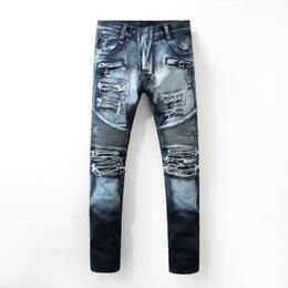 Wholesale Mens Slim Jeans Size 38 - 2017 Men's Distressed Ripped Biker Jeans US Size 28~42 Slim Fit Motorcycle Biker Denim For Men Brand Designer Hip Hop Mens Jeans