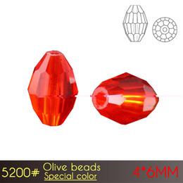 Contas de vidro facetado oval on-line-Contas de vidro chinês reflexivo cristal facetado Olive Beads 4x6mm Cor especial A5200 72 pçs / set com rápido frete grátis