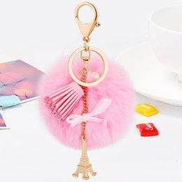 Wholesale Metal Charms Pendants Eiffel Tower - Rabbit Fur Ball Fluffy with PU Leather Tassel Eiffel Tower Metal Keychain Keyring Car Keychain Handbag Pendant Charms Car Ornaments