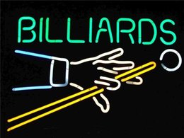 """Wholesale Billiards Signs - New Billiards glass neon beer signs pub bars neon light Red Blue 17"""" 19"""" 32"""""""