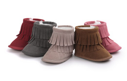 Wholesale Infant Boys Winter Boots - Baby First Walkers girl boy faux suede boots toddler fringe tassel winter warm boots shoes mid-calf 0-12M 8colors infant