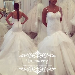 Wholesale Mermaid Beaded Corset Wedding Dress - 2018 New Design Mermaid Lace Wedding Dresses Corset Sequined Beaded Organza Ruffles Skirt Plus Size Chapel Train Arabic African Bridal Gowns