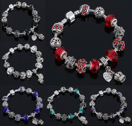 Wholesale Glass Heart Bulk - European Charm Murano Glass Beads Bracelet Jewelry Charms Shamballa Crystal Charms Beading Bangles Bracelets Wholesale In Bulk
