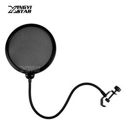 Wholesale cell phone clamp - Broadcast Studio Microphone Pop Filter Holder Clamp Mike Windscreen Popfilter Mask Shied For Speaking Video Recording Mic Stand Shock Mount