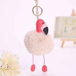 Wholesale Artificial Birds - Cartoon Flamingo Keychain Lovely Fluffy Artificial Rabbit Fur Ball Key Chain Animal Bird Pompom Women Car Bag Key Ring