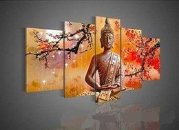 Wholesale Buddha Art Oil Painting - Framed 5 Panel Wall Art Religion Buddha,Pure Hand Painted Modern Wall Decor Landscape Art Oil Painting On Canvas.Multi size Available DHworl