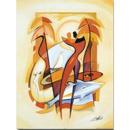 Ondas de pinturas abstratas on-line-Arte abstrata moderna pinturas a óleo Alfred Gockel Canvas Over and Under the Waves decoração da parede pintados à mão