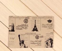 Wholesale Retro Towels - Wholesale- 10pcs Lot 152*107mm Vintage Style Vintage Eiffel Towel Envelope Europea Retro Style Leather Decration Paper Card Tower Freedom