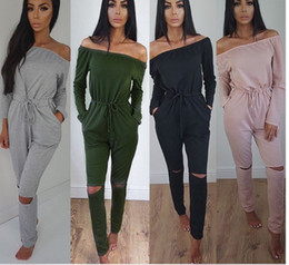 Wholesale Long Sexy Pink Tube Top - Pure color one-necked Tube Top Long-sleeved sexy trousers Women's Jumpsuits & Rompers