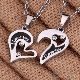 Wholesale Couple Lover Hearts - Wholesale-New Men's Women's Lover Couple I Love You Alloy Rhinestone Heart Shape Pendant Choker Chain Necklace 1S7P 6P23