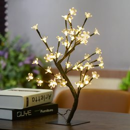 Wholesale Waterproof Desk - Waterproof 45cm 17.72Inch 48LEDs Cherry Blossom Desk Top Bonsai Tree Light Black Branches with Power adapter Indoor Outdoor Christmas Lights