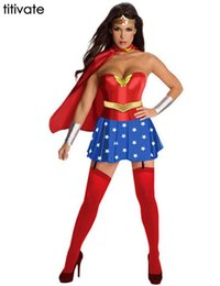 Wholesale Girls Super Fancy Dress - TITIVATE Halloween Costume Party Cosplay Disfraces Super Girl Ladies Wonder Woman Costume Superhero Adult Costume Fancy Dress