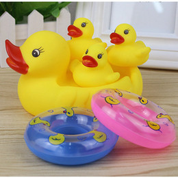 Wholesale Kids Beach Toys Set - retail Baby Bath Water Duck Toy Mini Sounds animal Yellow Rubber Ducks Kids Bath Small Octopus Toy Children Swiming Beach Gifts