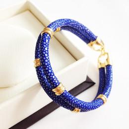 Wholesale Double Bracelet Gold - Beichong Classic Genuine Blue Stingray Double Strap Bracelet Bangle Original Thailand Stingray Bracelet for Men Jewelry