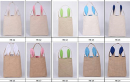 Wholesale Bags For Gifts Packing - New 10styles Cotton Linen Easter cute Bunny Ears Basket Bag For Easter Gift Packing Easter Handbag For Child Fine Festival Gift