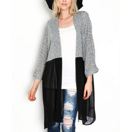 Wholesale Trendy Women S Sweaters - Wholesale-Sexy Long Cardigan Trendy Women Mesh Patchwork Sweater 2016 Chic Lady Winter Knitted Cardigans Tops Plus Size XXXL HM08