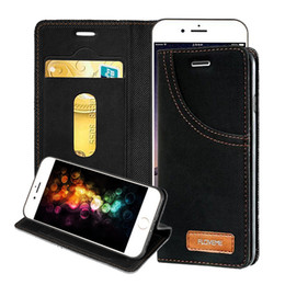 Wholesale Canvas Wallet Case - FLOVEME Jean Canvas PU Wallet Case With Card Holder Kickstand Flip Cover For iPhone 6 6s 7 Plus opp bag