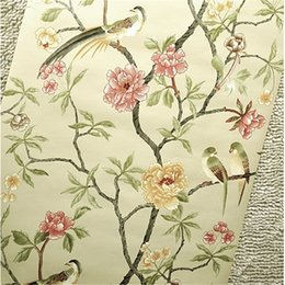 Wholesale pink paper wallpaper - Wholesale-Birds Trees Flowers Chinoiserie Wallpaper roll rof rolls Birds Tree Blossom Statement 3D Wall Paper Roll For Background Wall