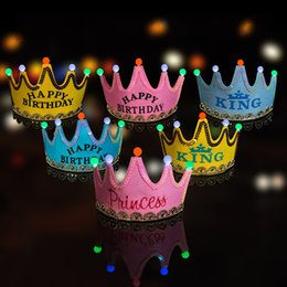 Wholesale festival cards - LED Light Cap Imperial Crown Hat Children Happy Birthday Party Supplies Activity Festival Decor Headband Props Colourful 28zj C R