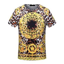 Wholesale Leopard Print T Shirts Women - 2018 tie-dyed Summer luxury Brand tshirt designer medusa geometry flowers leopard round color print Men casual women t-shirt shirts tee top