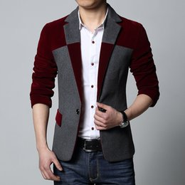Wholesale Mens Corduroy Blazer Xl - Wholesale- New 2015 Spring Casual Mens Suits & Blazer Woolen One Button Men Blazer Splice Slim Fit Jacket Man Suits Plus Size M-6XL MS002