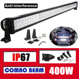 Wholesale 52 Inch Led Light Bar - 52 inch 400W Combo Beam Spot Flood LED Work Driving Light Bar for Boat Car SUV Jeep Truck 4WD Ford UTV Trailer UTE Off-road Fog Roof Lamp