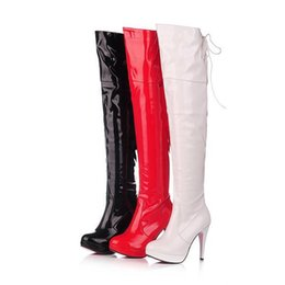 Wholesale White Long Boots Women - wholesaler free shipping factory price special price high heel long boot inner slide laceup jack boots overknee boots pole dancing boot